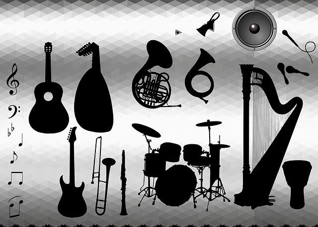 Viele Musikinstrumente auf einem Bild.