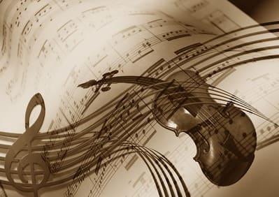 Eine gemalte Geige auf einem Notenblatt.
