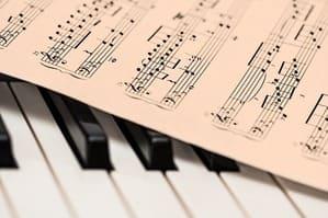 Ein Klavier mit einem Notenblatt.